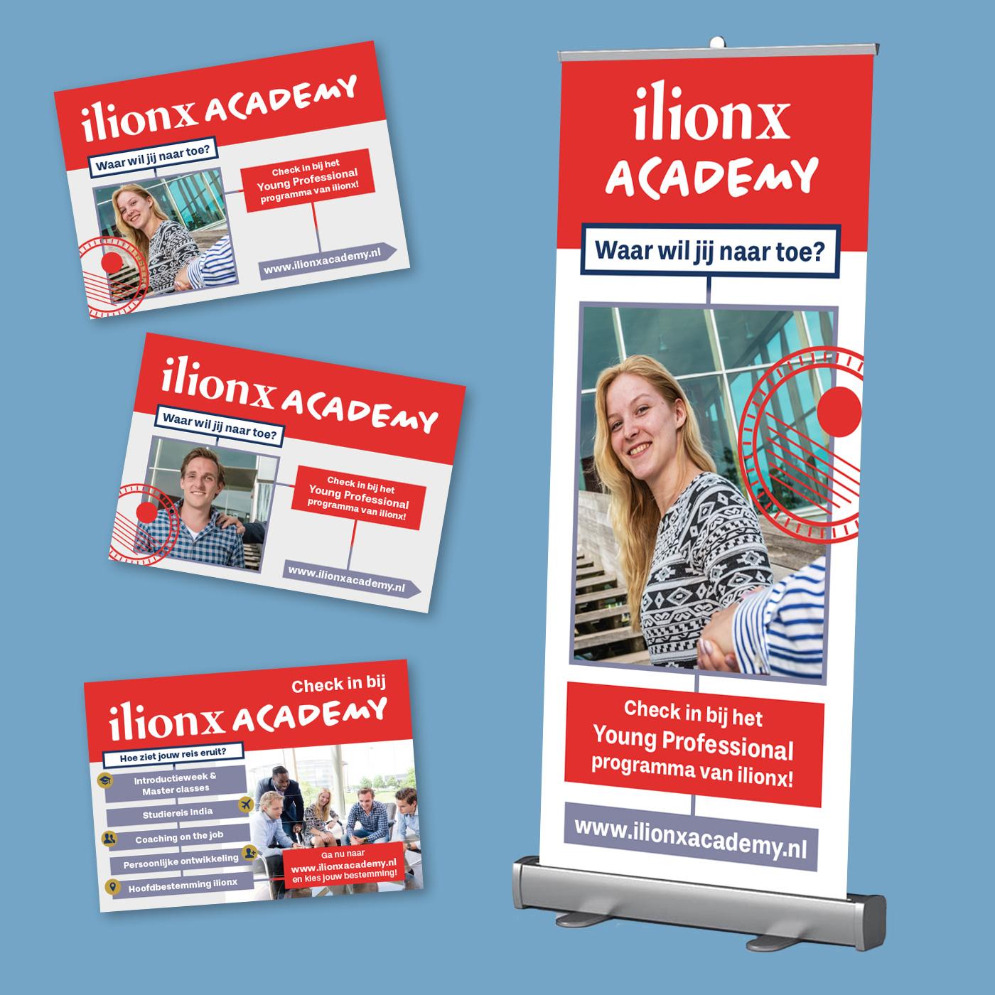 Beursbanner en promotieflyers voor ilionx academy, een van de onderdelen van it-bedrijf ilionx. Ontwerp en drukwerk.