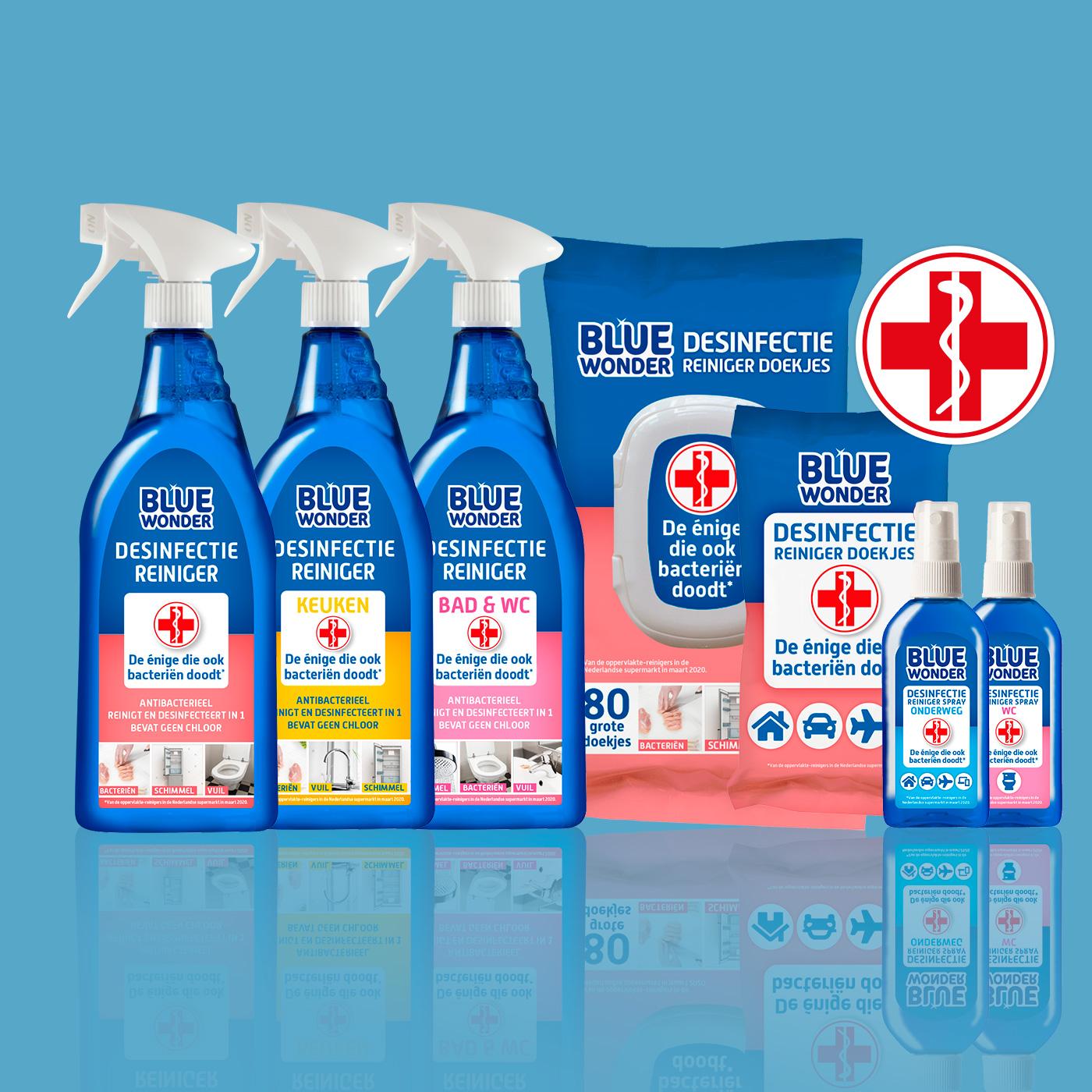 De compleet nieuwe Desinfectie productlijn van 2020 van Blue Wonder.