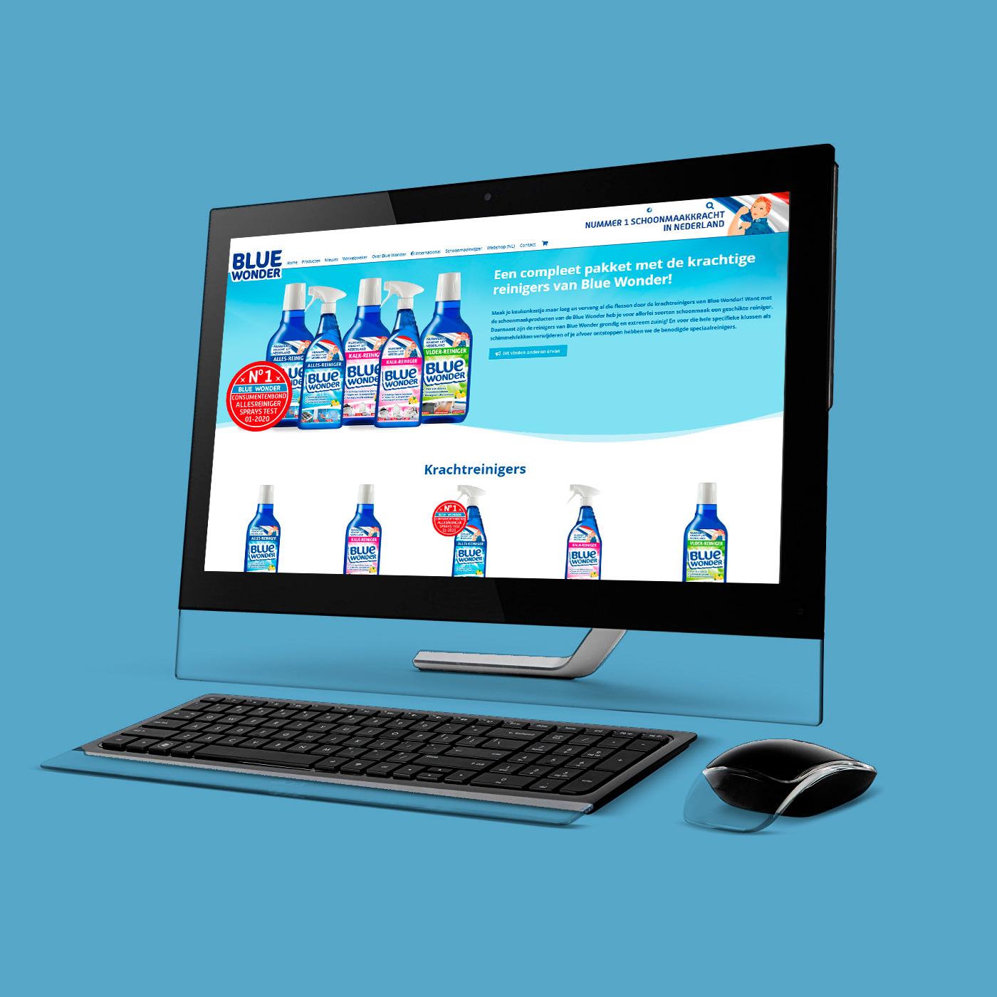 De website van Blue Wonder met geïntegreerde webshop is ook volledig door mij ontworpen en gebouwd.
