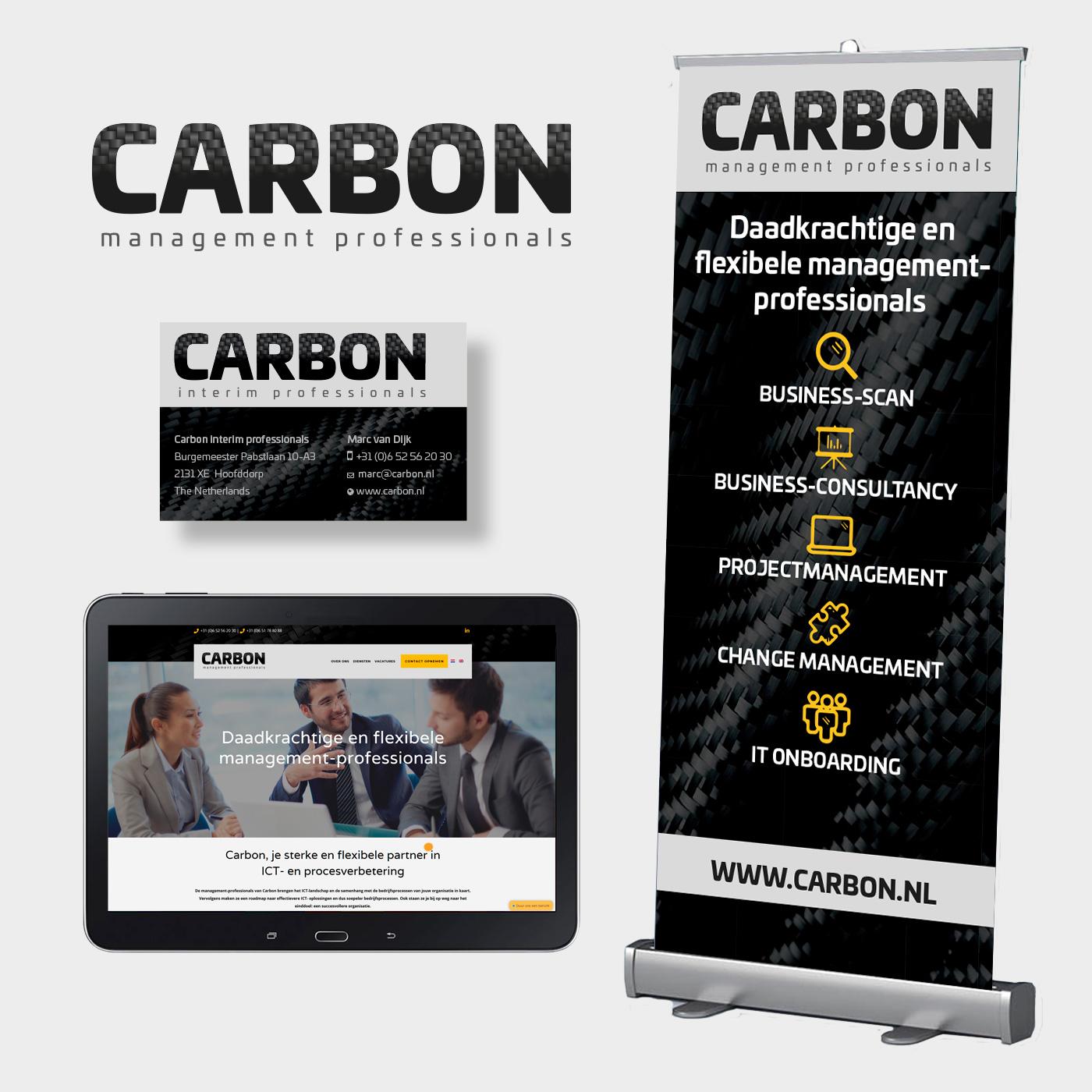 Voor Carbon Management Professionals maakte ik naast logo, visitekaartjes en rollup-banner ook de website.