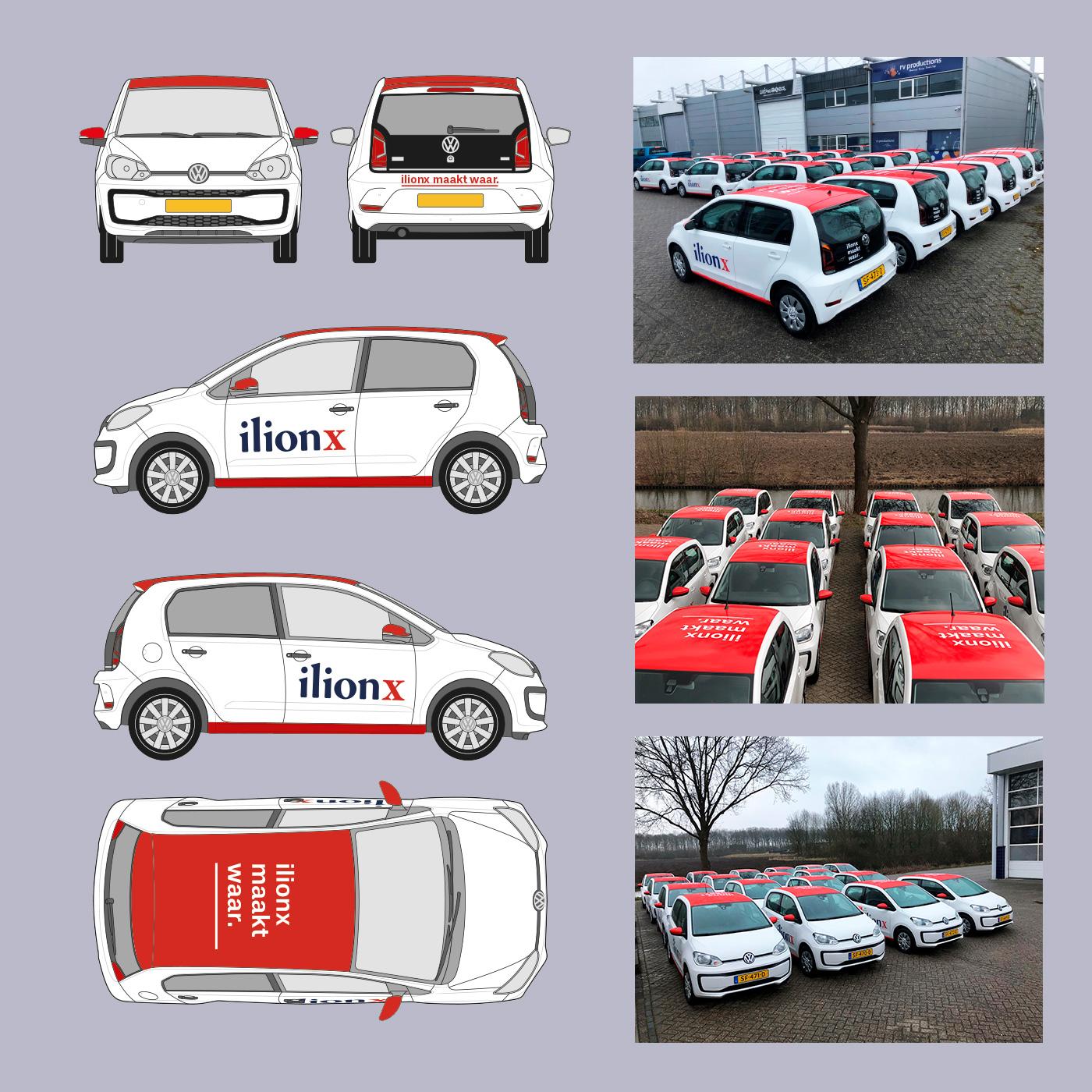 Uiteindelijke autobelettering voor de nieuwe wagenvloot van ilionx.