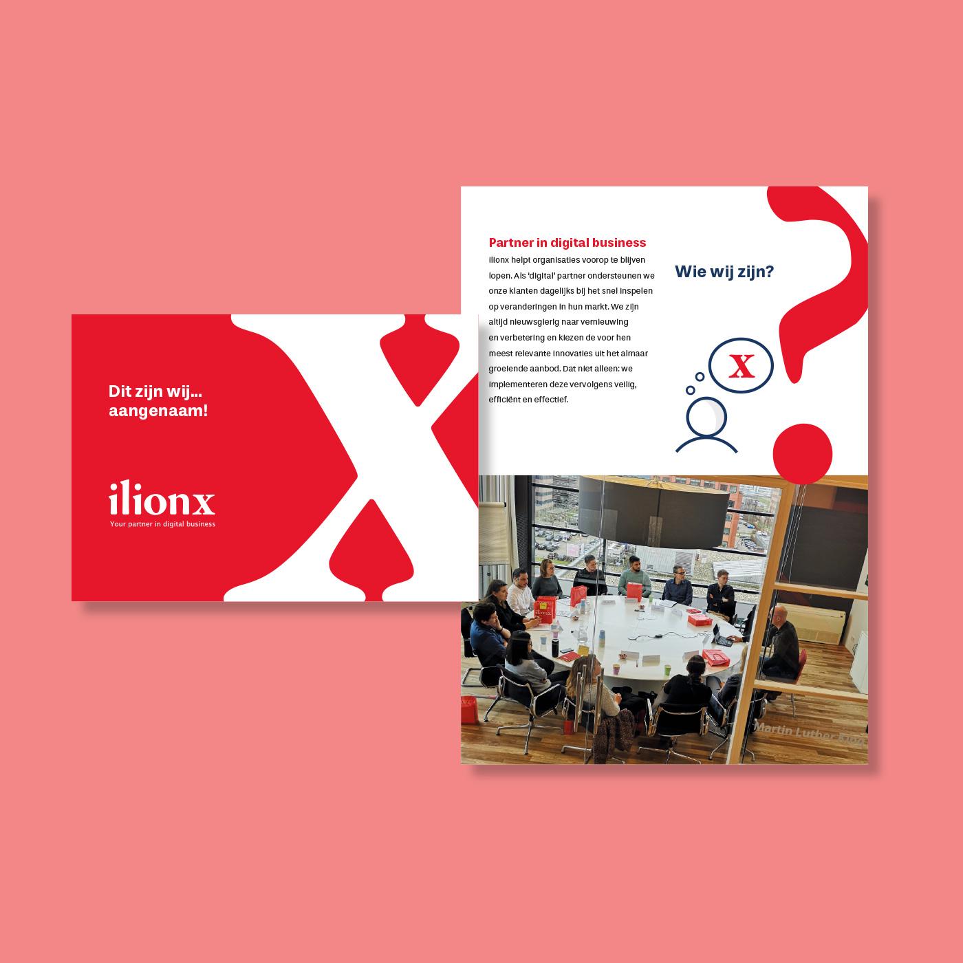 Ontwerp en drukwerk van de brochure over de kernwaarden van it-bedrijf ilionx op liggend A6-formaat 'Wij zijn ilionx'.