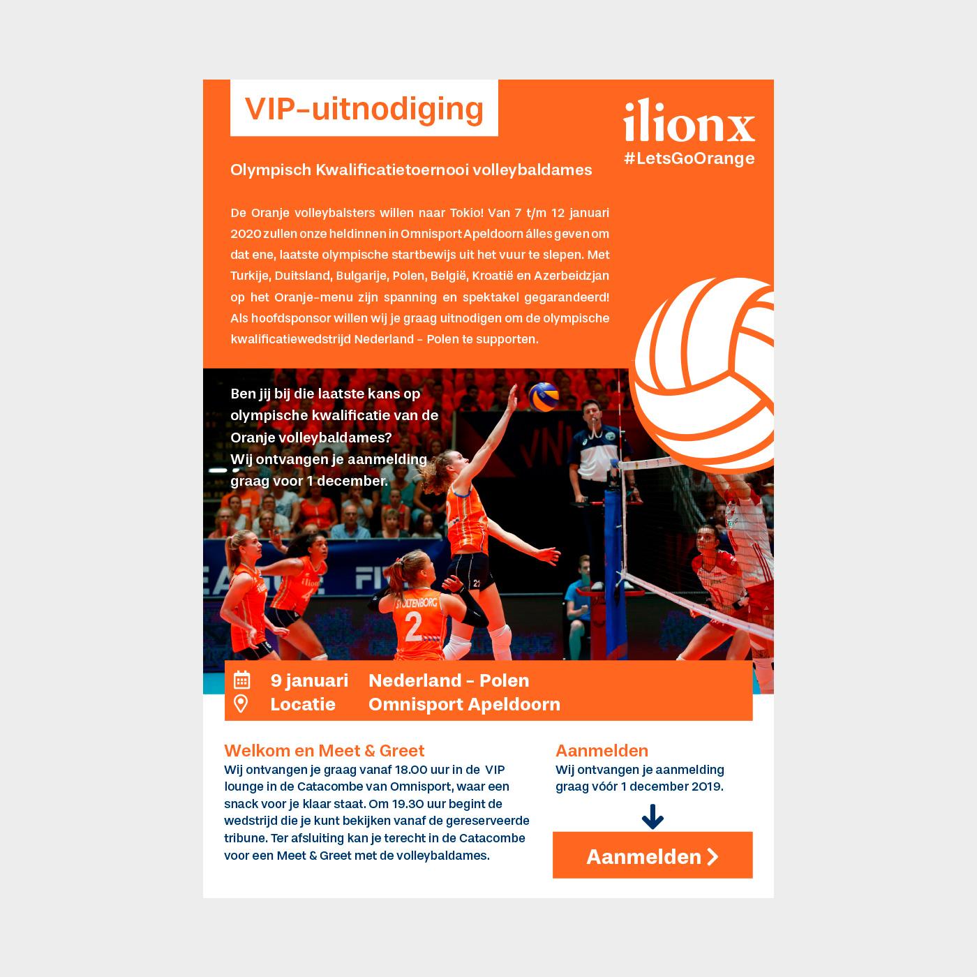 ilionx is hoofdsponsor van het Nederlands damesvolleybalteam. Dit is een digitale uitnodiging die werd verstuurd naar medewerkers en klanten om een wedstrijd bij te wonen.