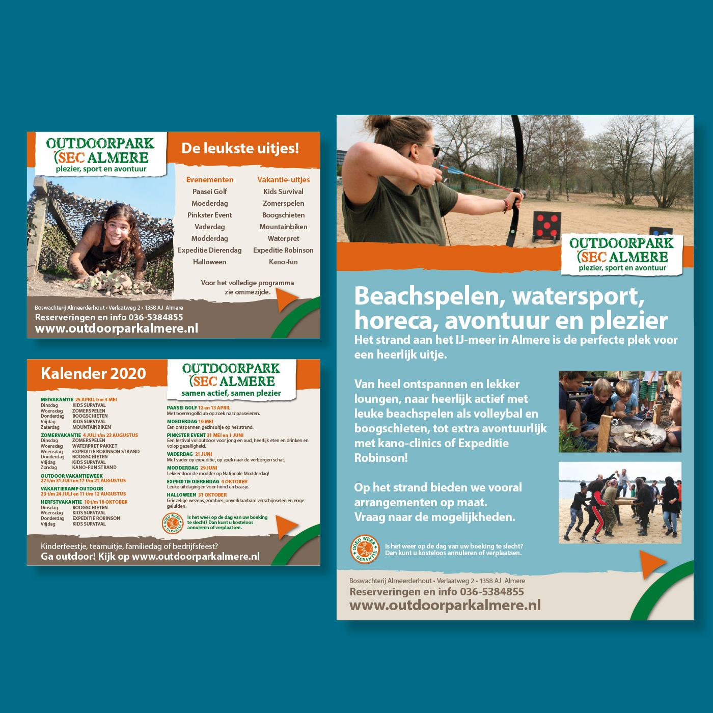 Promotiemateriaal van Outdoorpark SEC Almere: Flyers van de vakantie-uitjes en een van de posters uit de serie van speciale evenementen op het park.
