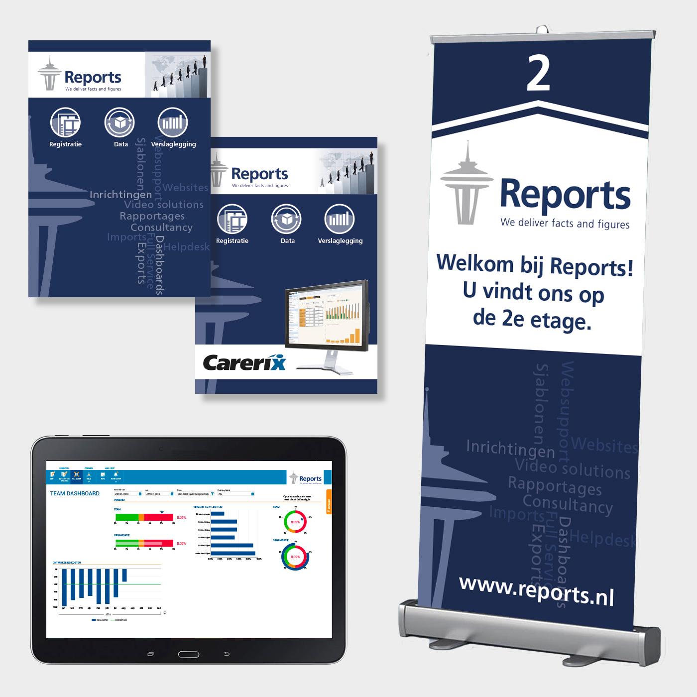 Voor Reports maak ik naast folders en banners ook dashboard ontwerpen voor hun klanten.