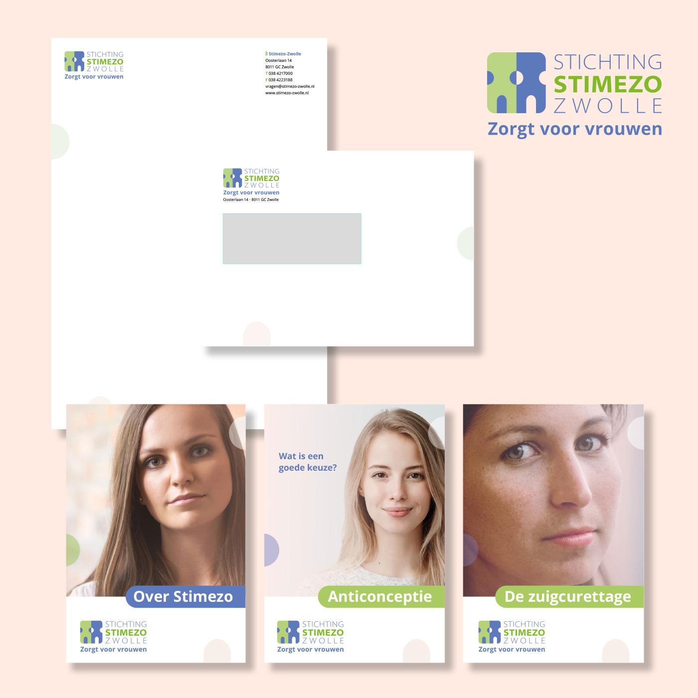 Voor vrouwenkliniek Stimezo Zwolle gaf ik het bestaande logo een 'facelift' en ontwierp en drukte ik huisstijlitems en voorlichtingsfolders. Volgende stap is de website.