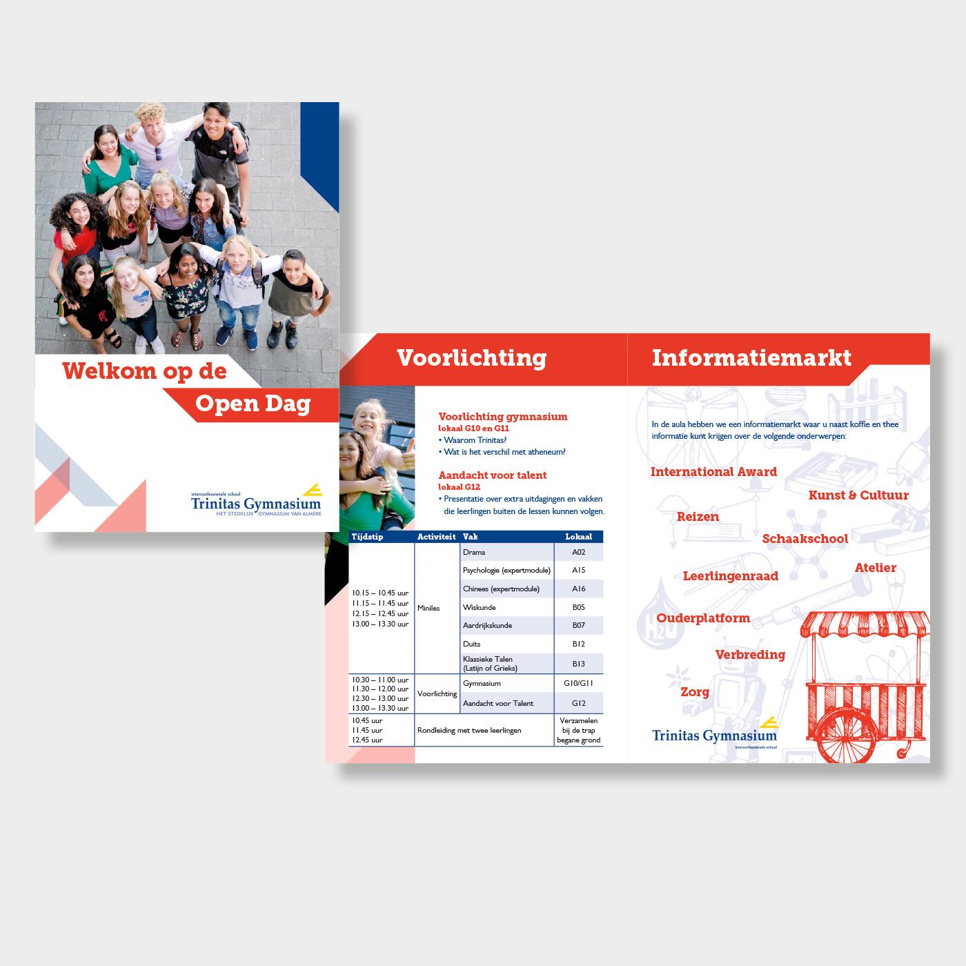 Open dag boekje voor Trinitas Gymnasium, onderdeel van Stichting Het Baken Almere.
