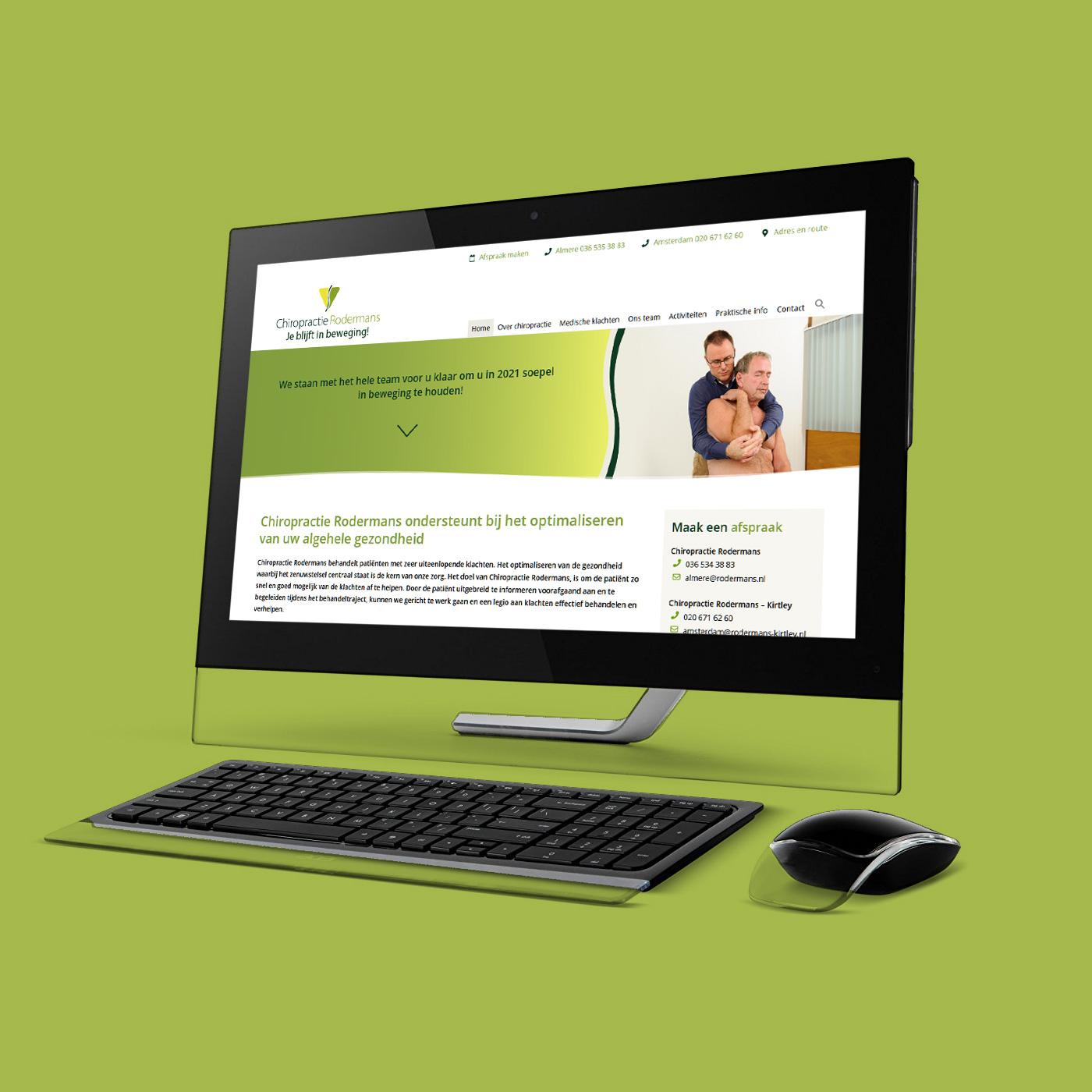 Voor Chiropractie Rodermans bouwde ik de website. Daarnaast verzorg ik voor hen visitekaartjes, Mailchimp templates en andere zaken.