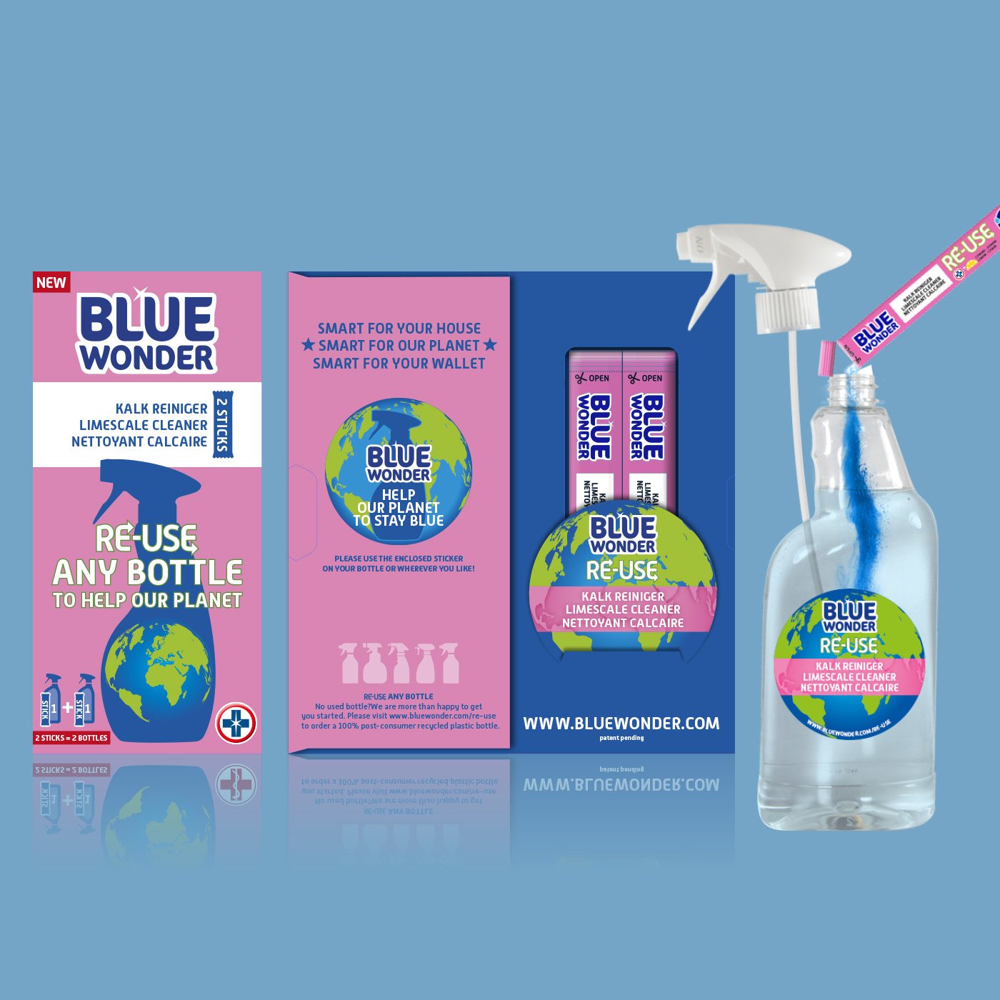 Hergebruik je plastic flacon met RE-USE reiniger sticks. Ontwikkeling van de verpakking en alle bijbehorende promotie en  landingspages.